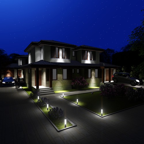 Townhouse Front View 3D Rendering