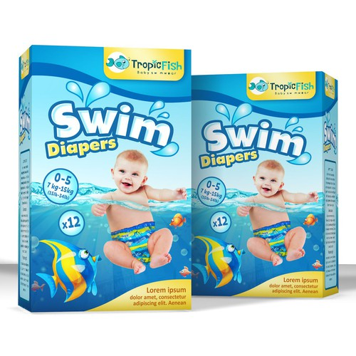Fun package design concept for swim diapers