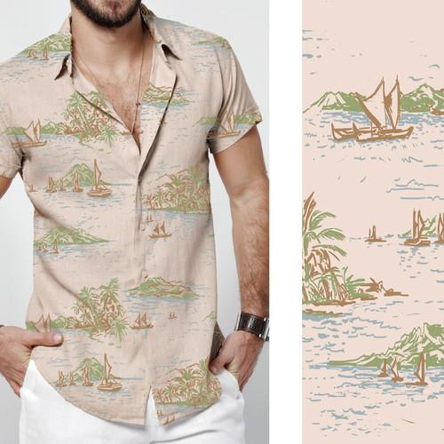 夏威夷衬衫印花(手绘插图)