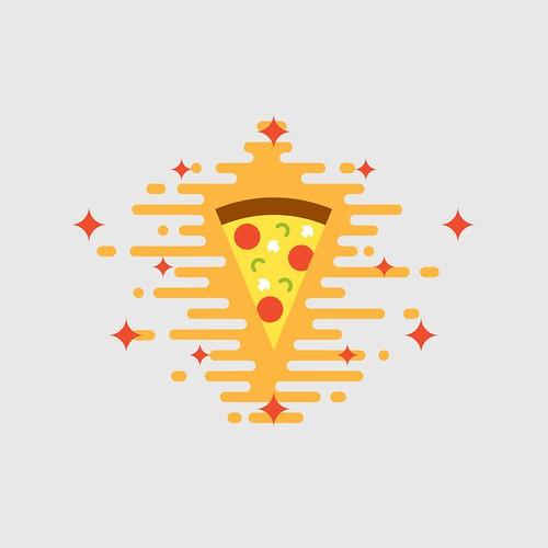 Shiny cheesy pizza