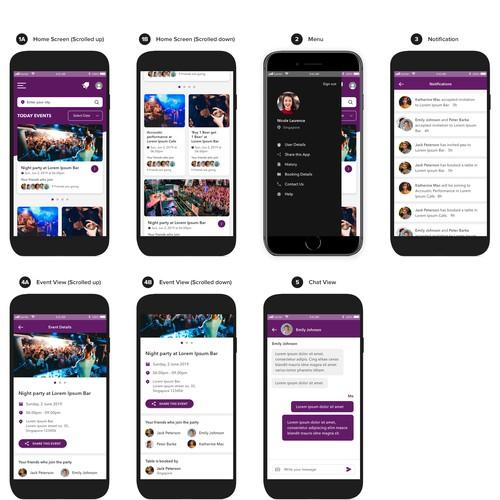 Mobile app design for Night