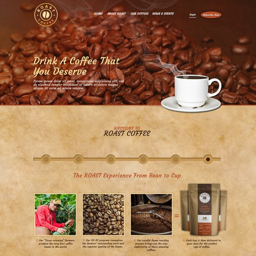 coffee product website design