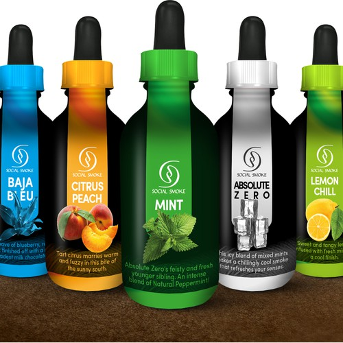 Label Social Smoke eVapor Bottles