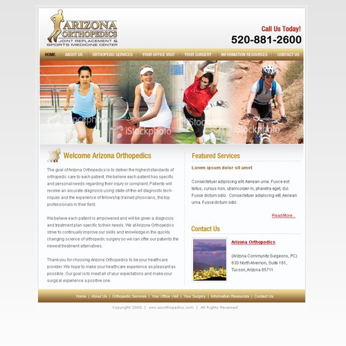 Orthopedics center Homepage design - Uncoded 301