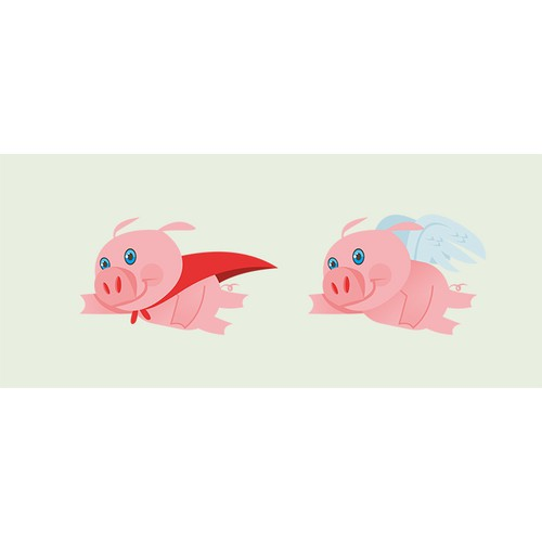create a graphic of a flying pig for a mascot