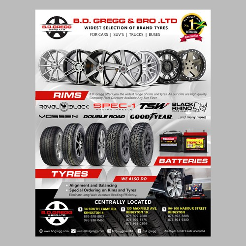 flyer and magazine ad for Jamaica's No 1 Rims Specialists