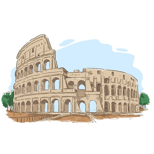 Ancient Building Illustration