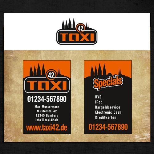 Taxi Logo und Visitenkarten - Werbepartner Harley Davidson