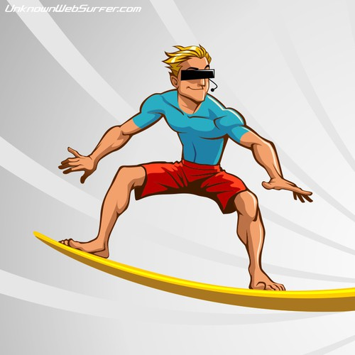 Create a cool Surfer mascot for UnknownWebSurfer.com