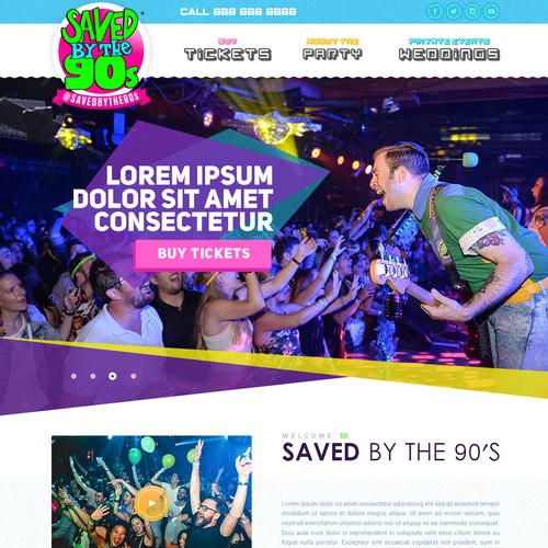 Website design for a retro 90's band