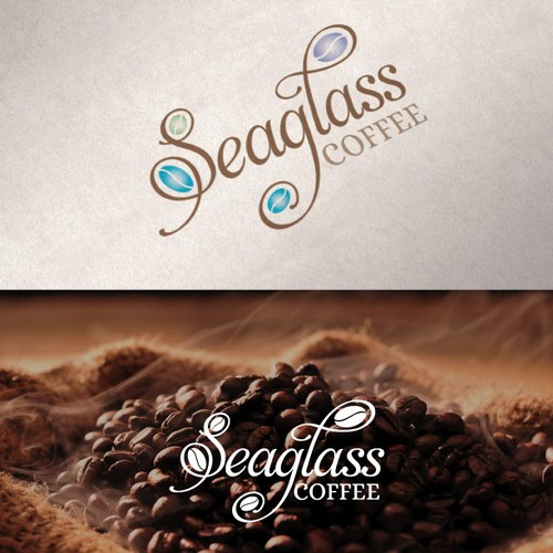 Create a logo for a coffee roasting company called Seaglass Coffee