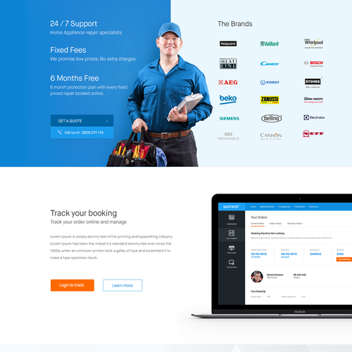 Home appliances repair online services landing page