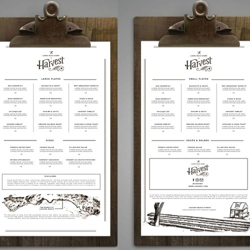 Menu Design For Harvest Restaurant.