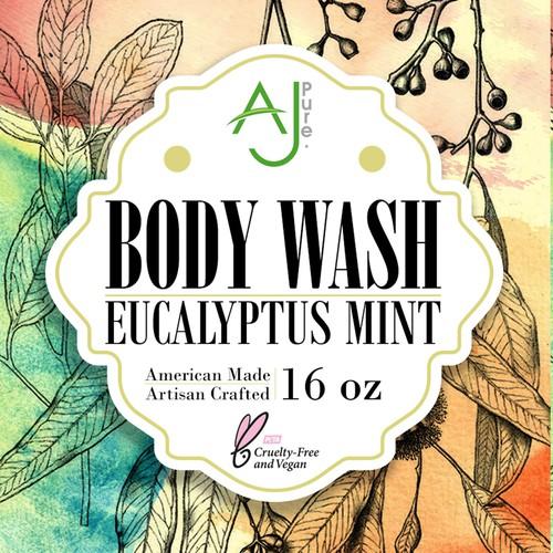 "Label of ""Eucalyptus Mint"" for AJ Pure"