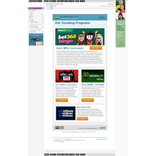 Help Design an Email Newsletter Template for CasinoAffiliatePrograms.com