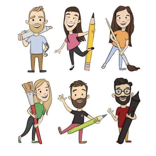 illustration of 6-person design team