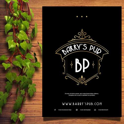 Logo concept Barrys Pub on Menu