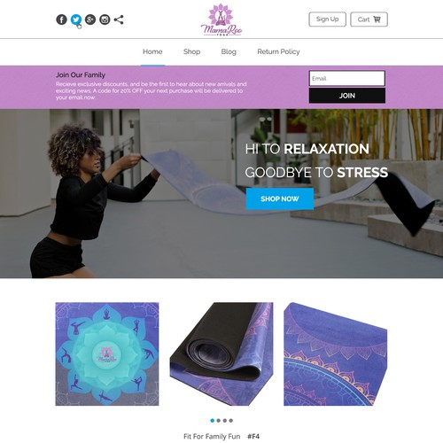 Website concept for a website for Yoga Products