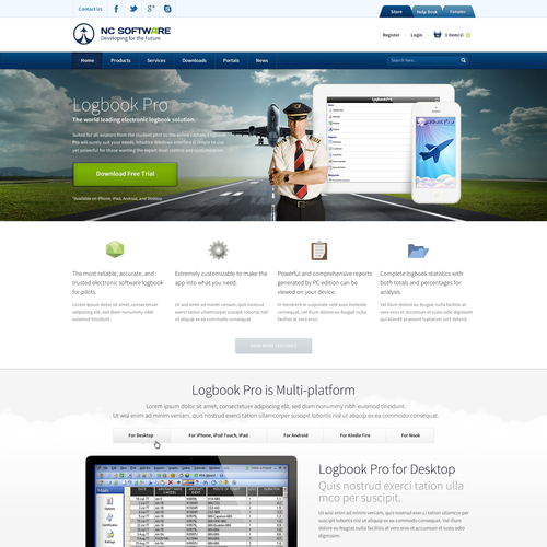 website design for Aviation Computer Software Web Site E-Comm and Product Page