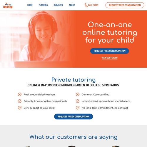 A+ Tutoring | Landing Page