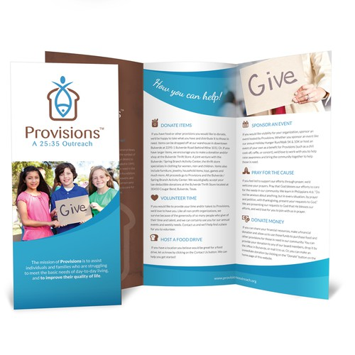 Create a brochure for non-profit Provisions