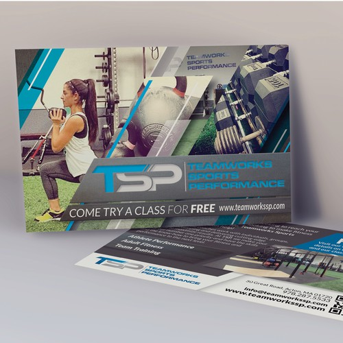 Create a small postcard design for Teamworks Sports Performance