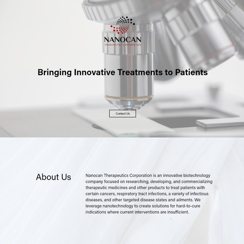 Landing Page Design for Nanocan