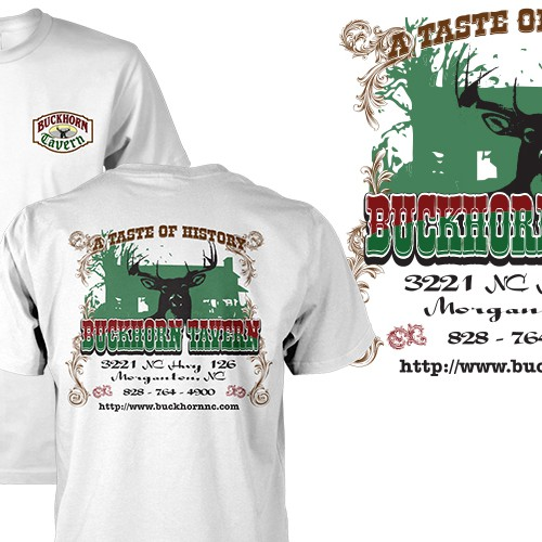 Create an awesome t-shirt for the Buckhorn Tavern Restaurant