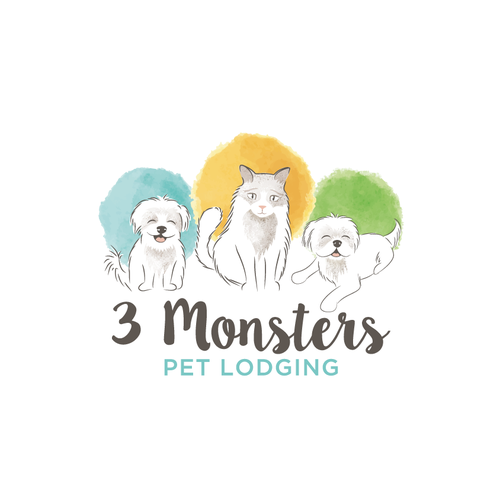 Artistic watercolor pet logo