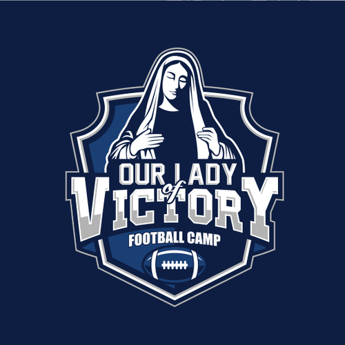 Bold logo for a Catholic Football Camp