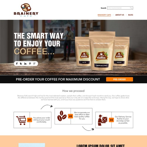 Create a pre-order page with a warm, conversational, chill feel for a coffee sampling brand