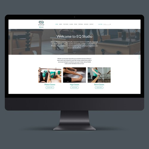 Website for EQ Studio Pilates and Yoga