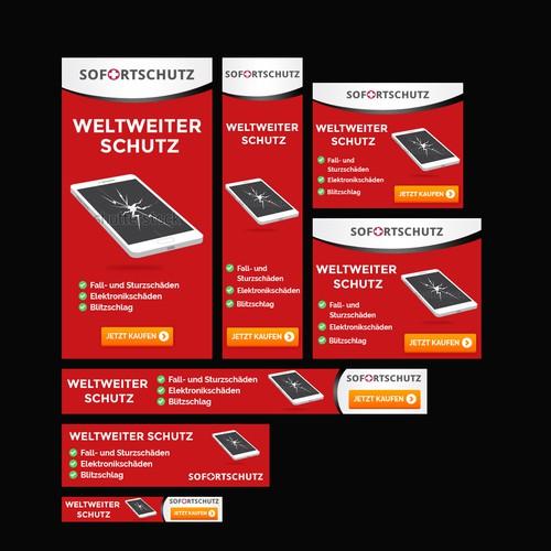 """Banner set for """"Sofortschutz Handyversicherung"""" 's Amazon Kampagne"""