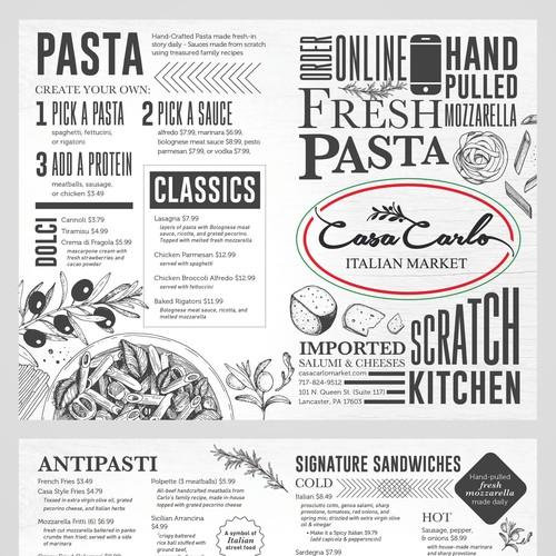 Menu Design for Casa Carlo Restaurant