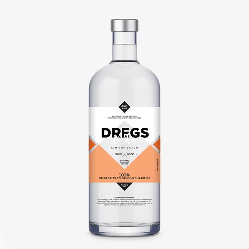 Modern label design for vodka bottle