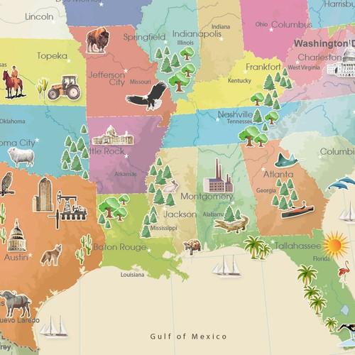Artistic USA Map Design