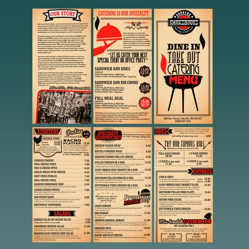 Menu Design for BBQ and Sports Bar