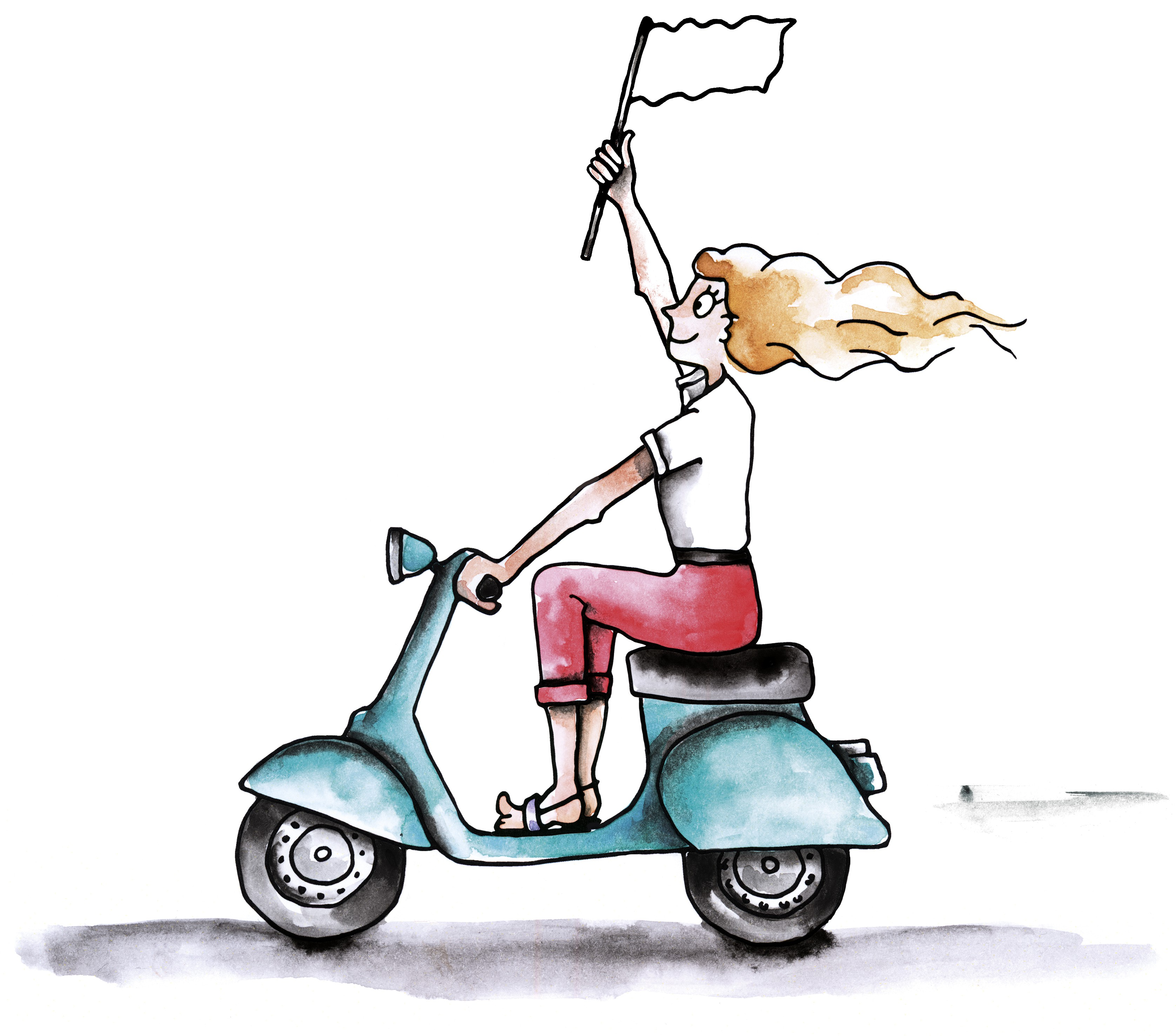 Create the cool girl screaming on a moped or motorcycle