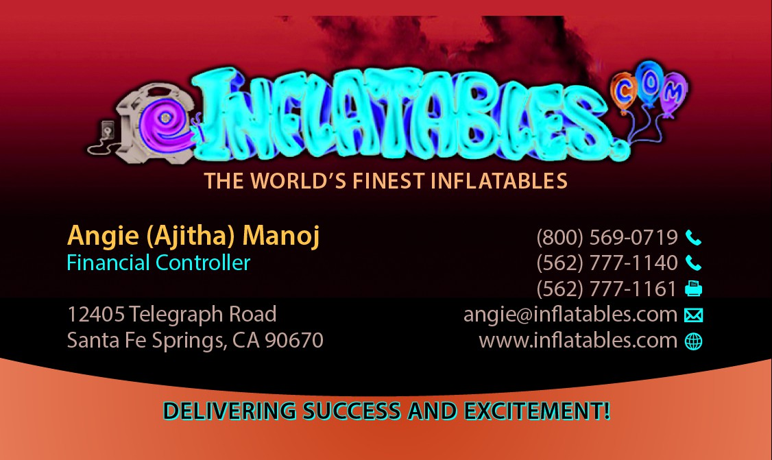 Create a eye-grabbing business card for eInflatables