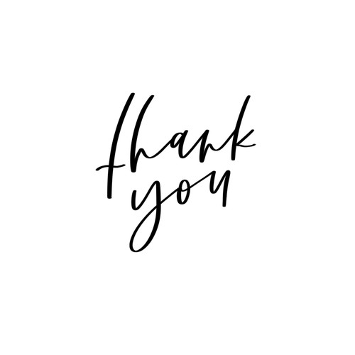 Simple, hand lettered thank you card