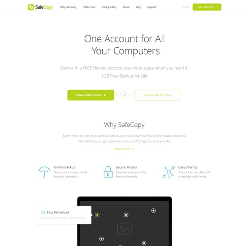Website Concept for SafeCopy Backup