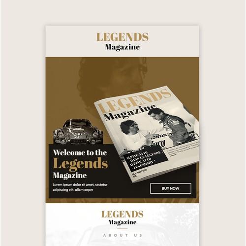 a mailchimp newsletter for legends magazine