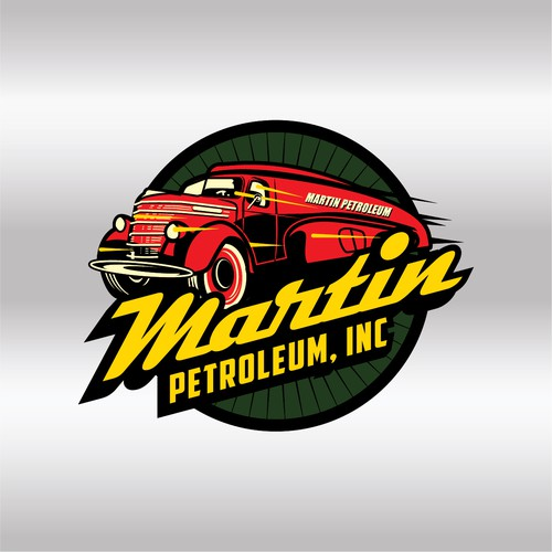 vintage 1940 tanker truck logo for Martin Petroleum, Inc