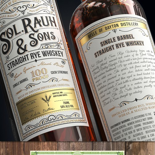 Vintage Rye Whiskey Label for Craft Distillery