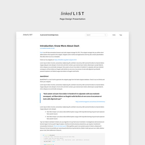 Redesign content focussed typographic web site Linked List