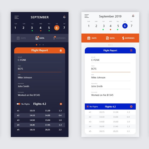 Aviation Mobile App Design