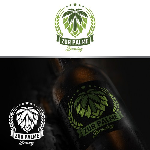 A unique Badge logo of Zur Palme Brewing.