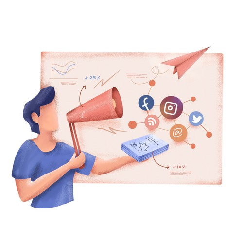 Social Media Marketing Illustration