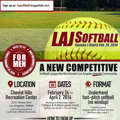 Create a simple, yet appealing flyer for a new private softball league