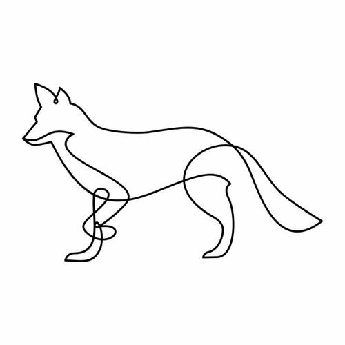line art fox